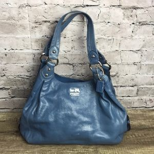 Coach Madison patent leather blue shoulder bag